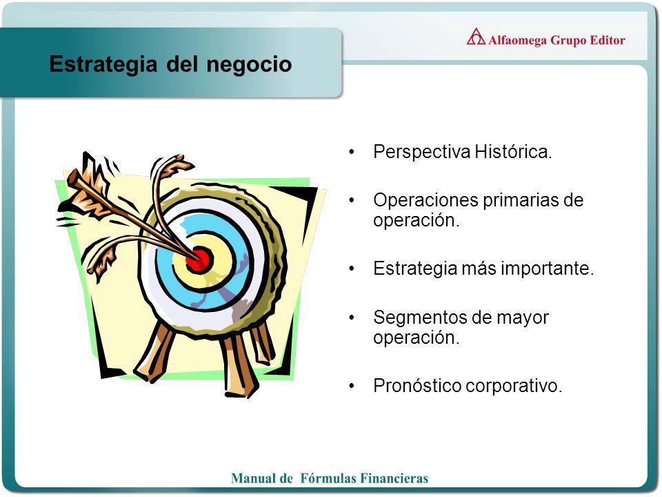 Estrategia del negocio Perspectiva Histórica. Operaciones primarias de operación. Estrategia más importante. Segmentos de mayor operación. Pronóstico