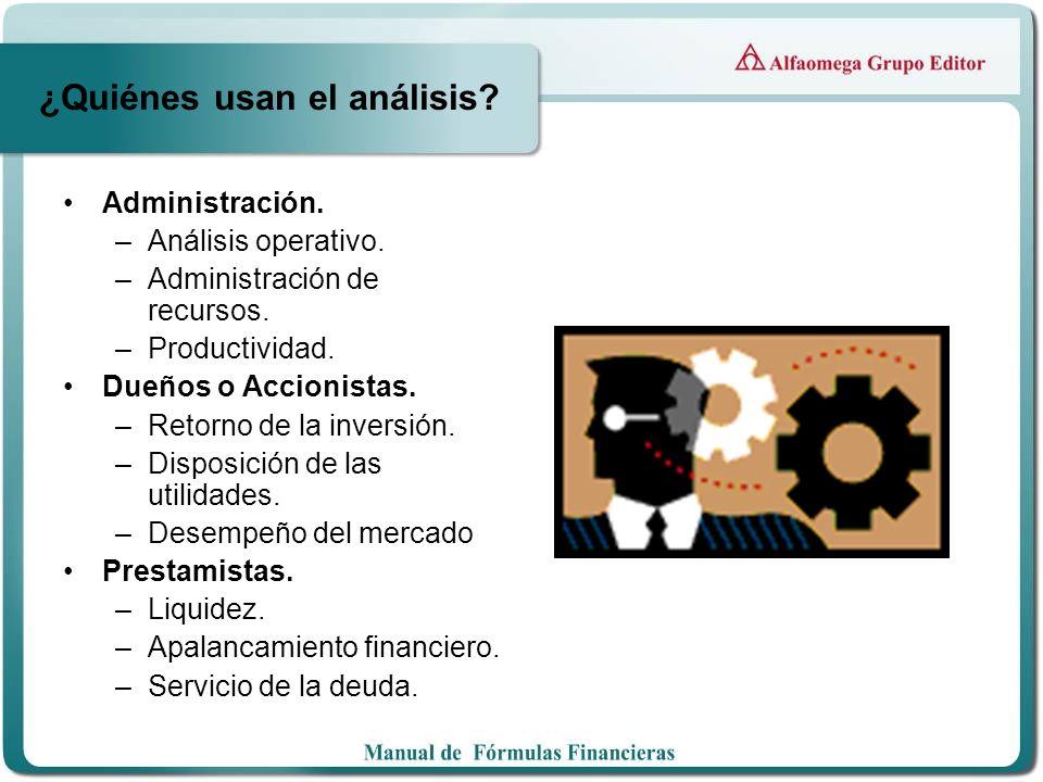 ¿Quiénes usan el análisis? Administración. –Análisis operativo. –Administración de recursos. –Productividad. Dueños o Accionistas. –Retorno de la inve