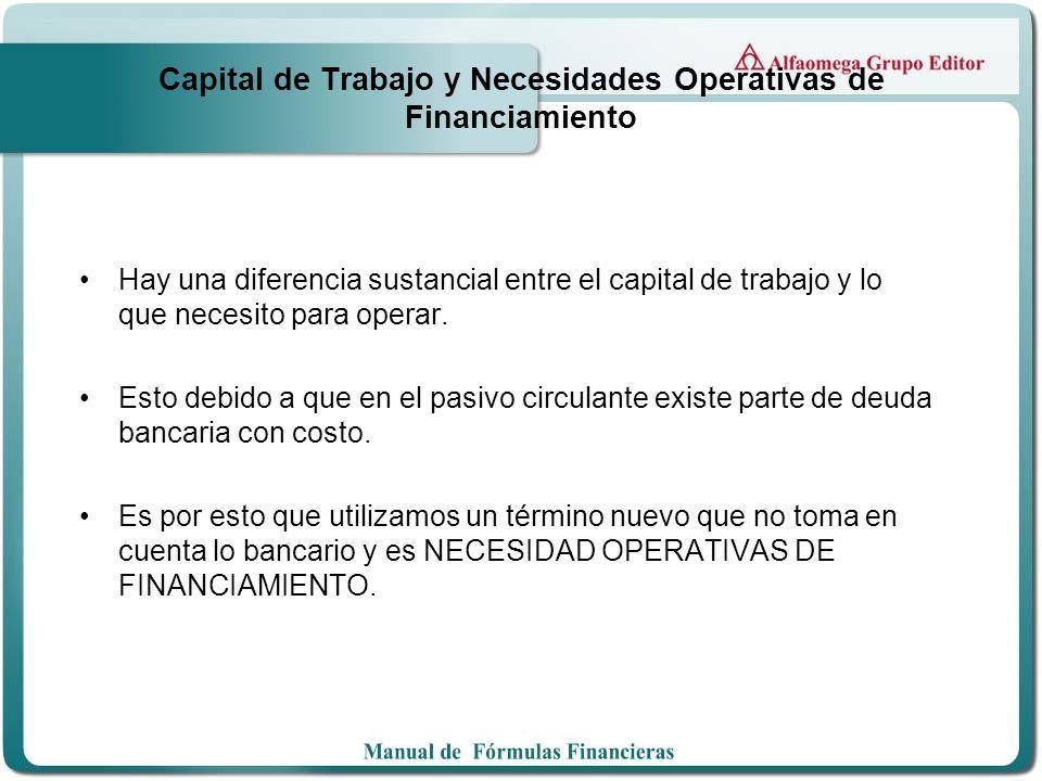 Capital de Trabajo y Necesidades Operativas de Financiamiento Hay una diferencia sustancial entre el capital de trabajo y lo que necesito para operar.