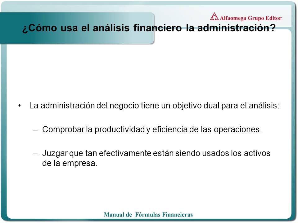 ¿Cómo usa el análisis financiero la administración? La administración del negocio tiene un objetivo dual para el análisis: –Comprobar la productividad