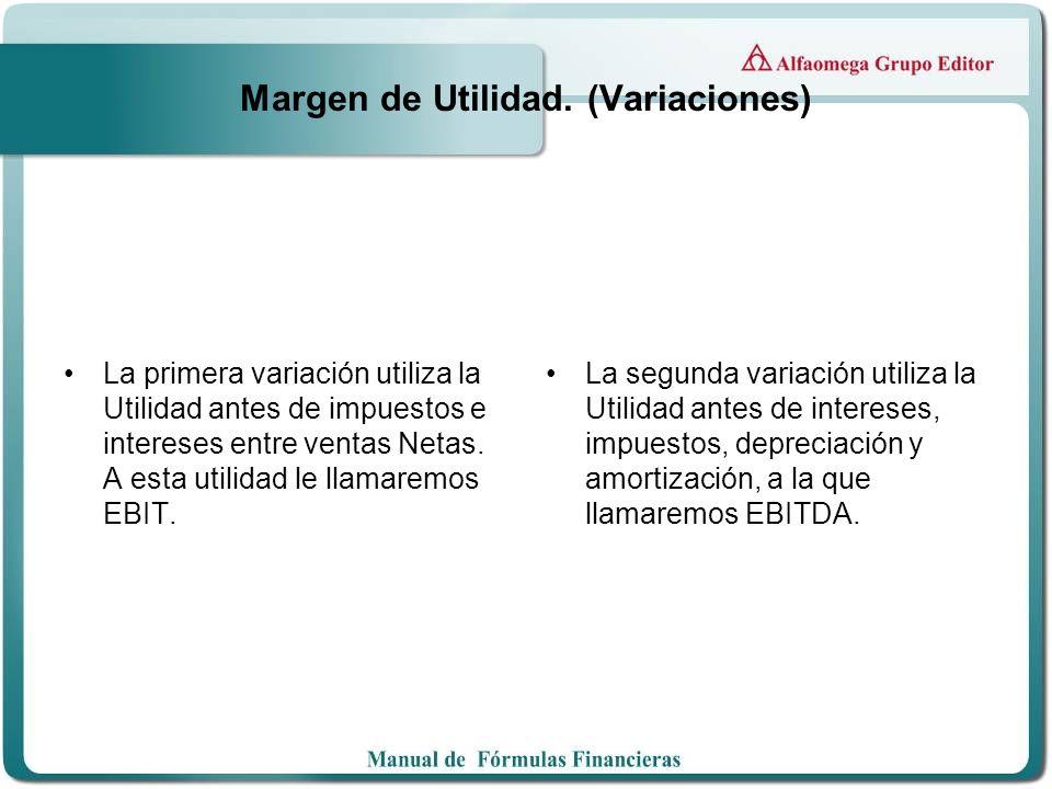 Margen de Utilidad. (Variaciones) La primera variación utiliza la Utilidad antes de impuestos e intereses entre ventas Netas. A esta utilidad le llama