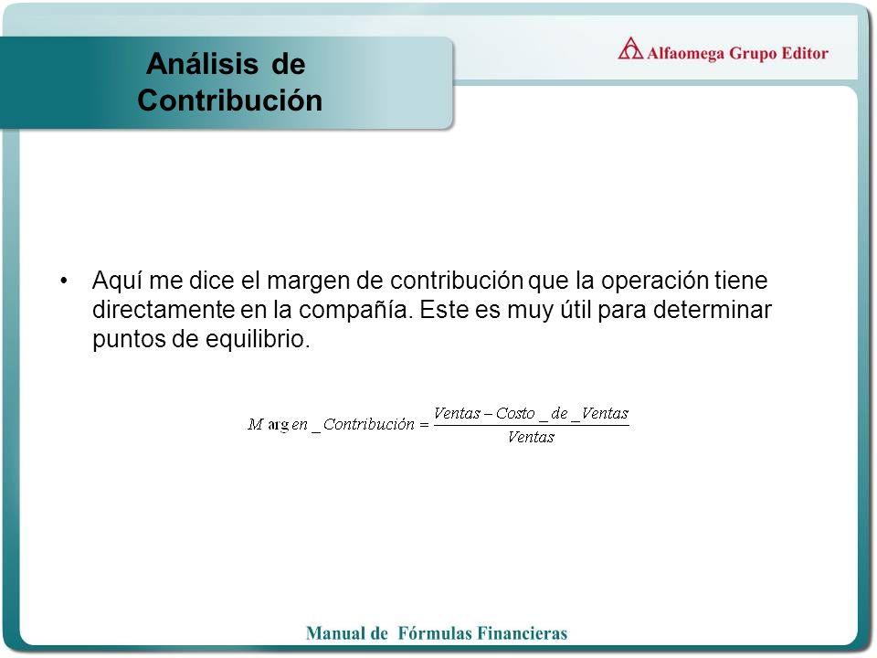 Análisis de Contribución Aquí me dice el margen de contribución que la operación tiene directamente en la compañía. Este es muy útil para determinar p