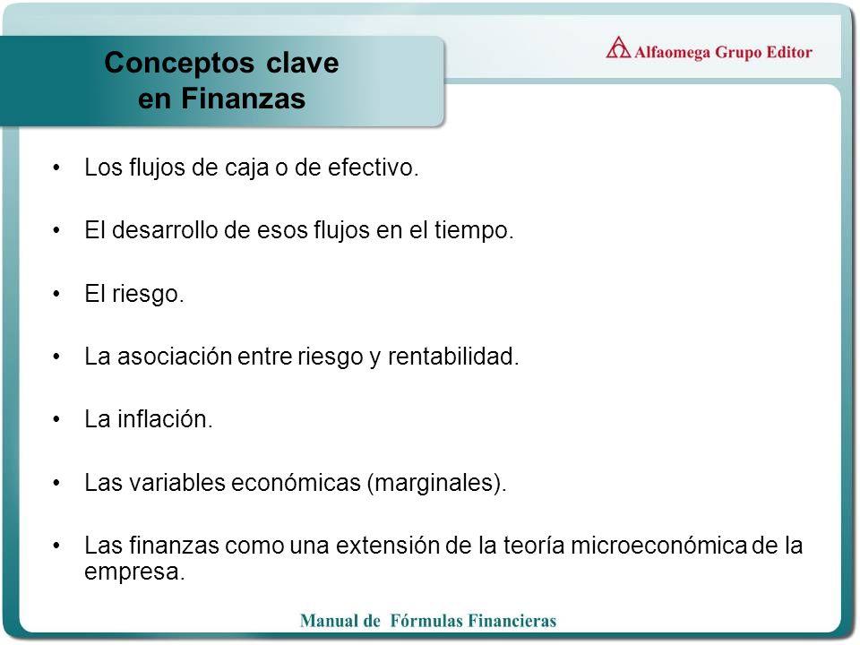 Conceptos clave en Finanzas Los flujos de caja o de efectivo. El desarrollo de esos flujos en el tiempo. El riesgo. La asociación entre riesgo y renta