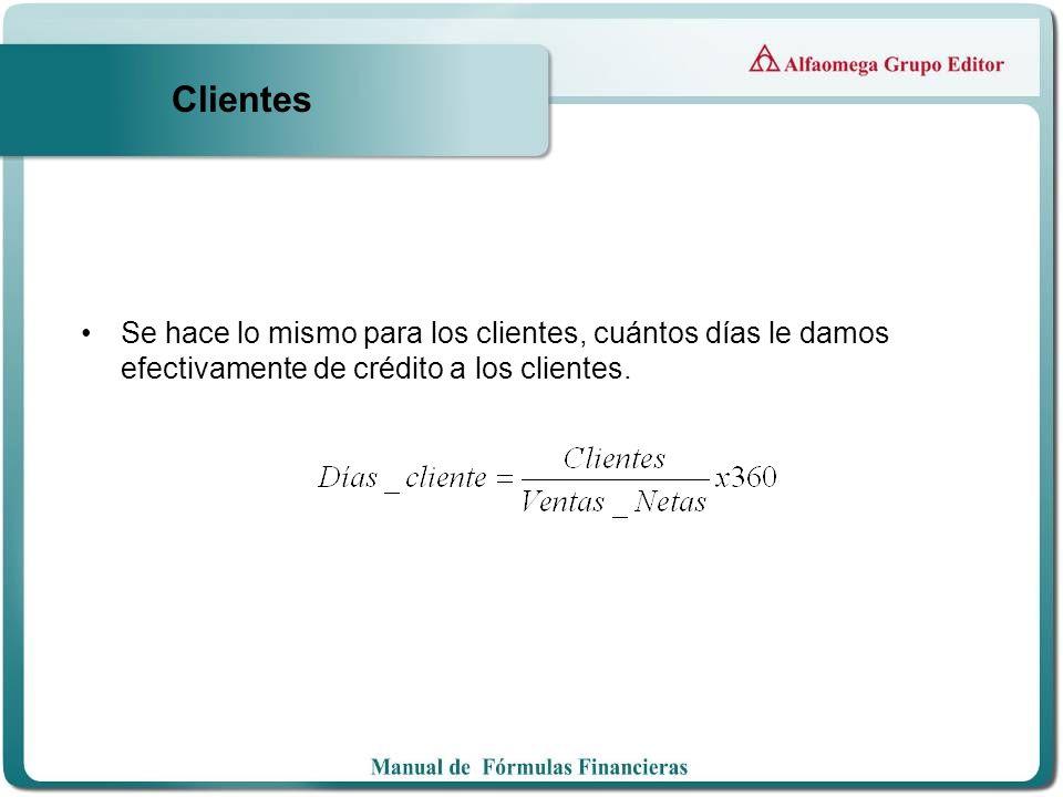 Clientes Se hace lo mismo para los clientes, cuántos días le damos efectivamente de crédito a los clientes.