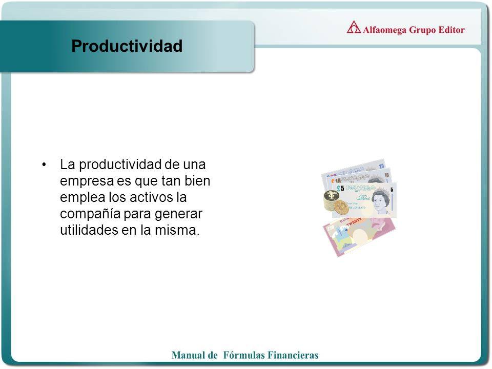Productividad La productividad de una empresa es que tan bien emplea los activos la compañía para generar utilidades en la misma.