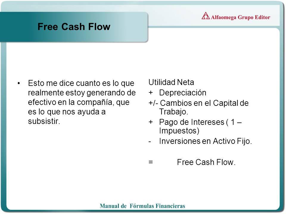 Free Cash Flow Esto me dice cuanto es lo que realmente estoy generando de efectivo en la compañía, que es lo que nos ayuda a subsistir. Utilidad Neta