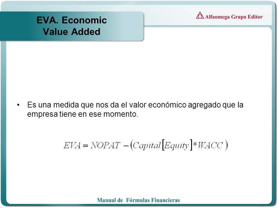 EVA. Economic Value Added Es una medida que nos da el valor económico agregado que la empresa tiene en ese momento.