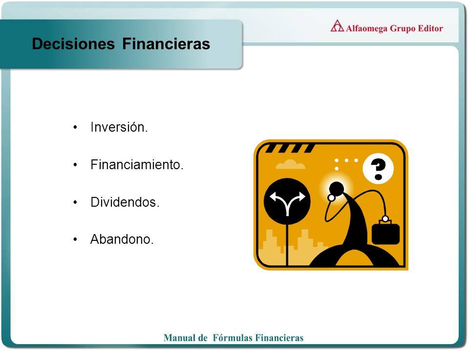 Decisiones Financieras Inversión. Financiamiento. Dividendos. Abandono.