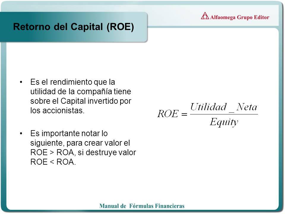Retorno del Capital (ROE) Es el rendimiento que la utilidad de la compañía tiene sobre el Capital invertido por los accionistas. Es importante notar l
