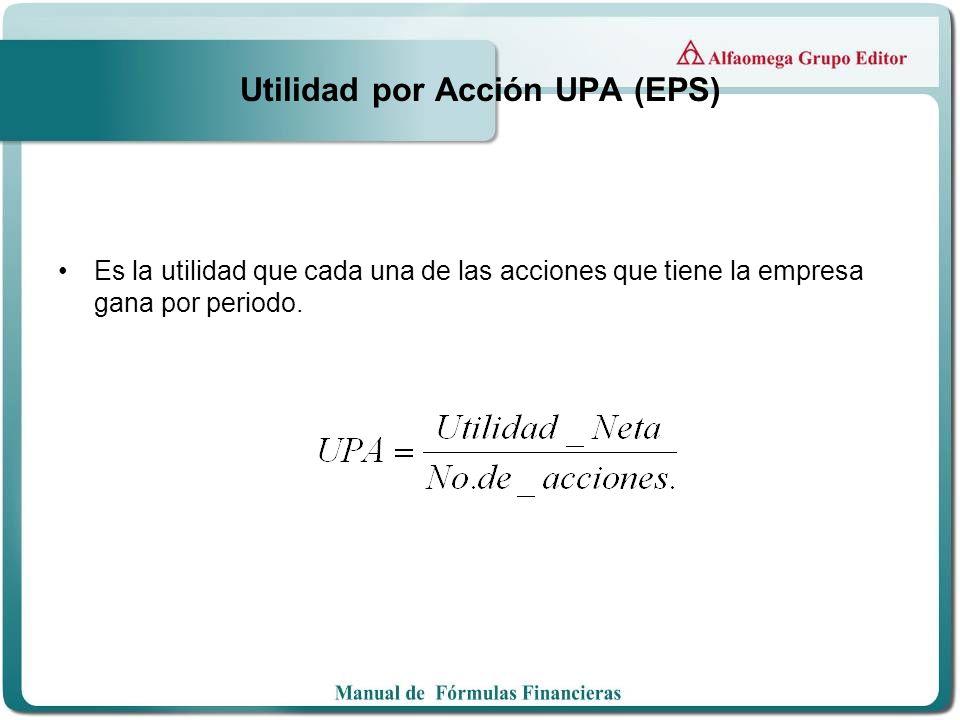 Utilidad por Acción UPA (EPS) Es la utilidad que cada una de las acciones que tiene la empresa gana por periodo.