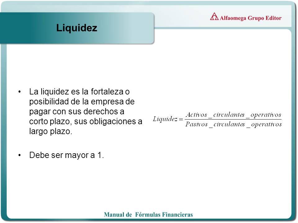 Liquidez La liquidez es la fortaleza o posibilidad de la empresa de pagar con sus derechos a corto plazo, sus obligaciones a largo plazo. Debe ser may