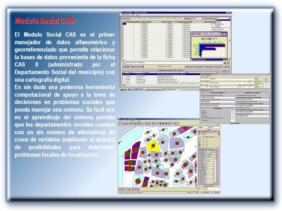 Modulo Social CAS: El Modulo Social CAS es el primer manejador de datos alfanumérico y georreferenciado que permite relacionar la bases de datos prove