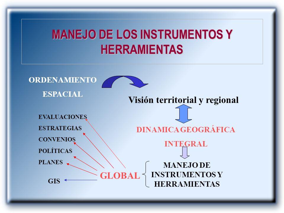 MANEJO DE LOS INSTRUMENTOS Y HERRAMIENTAS ORDENAMIENTO ESPACIAL Visión territorial y regional DINAMICA GEOGRÁFICA INTEGRAL MANEJO DE INSTRUMENTOS Y HE