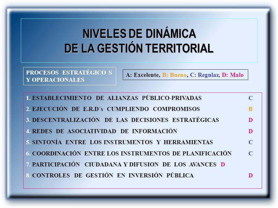 NIVELES DE DINÁMICA DE LA GESTIÓN TERRITORIAL PROCESOS ESTRATÉGICO S Y OPERACIONALES 1. ESTABLECIMIENTO DE ALIANZAS PÚBLICO-PRIVADASC 2. EJECUCIÓN DE