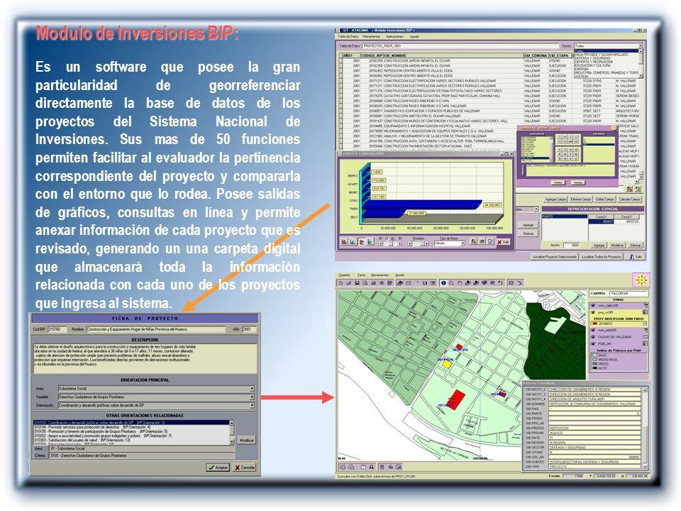 Modulo de Inversiones BIP: Es un software que posee la gran particularidad de georreferenciar directamente la base de datos de los proyectos del Siste
