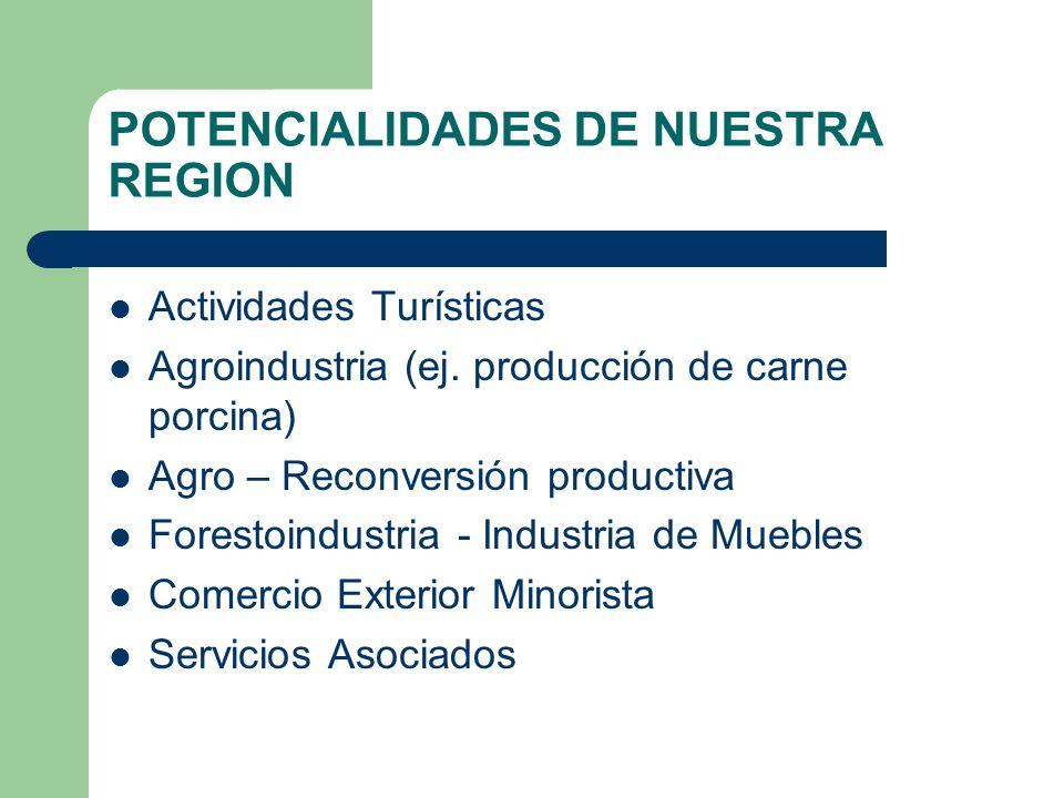 POTENCIALIDADES DE NUESTRA REGION Actividades Turísticas Agroindustria (ej.