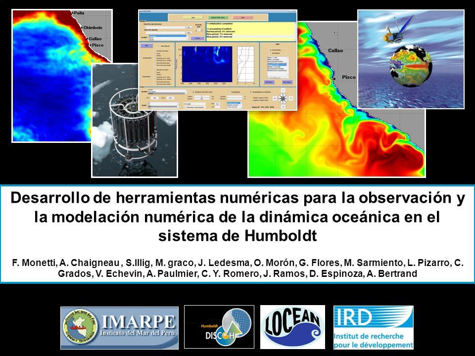 Modulo Roms2Roms: « zoom » SIMULACION: INTERANNUAL 2000 – Oct 2008: Región: [10ºS - 20ºS ; 70ºW - 82ºW] Topografía: Gebco 08 Resolución: 1/18º con 54 niveles verticales Viento: QuikSCAT (datos satelitales 22.5 Km de resolución /diario) Flujos: Re-análisis ECMWF (165 Km.