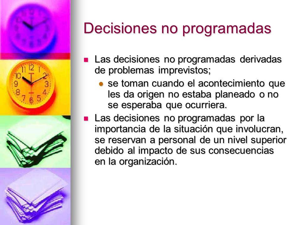 Decisiones no programadas Las decisiones no programadas derivadas de problemas imprevistos; Las decisiones no programadas derivadas de problemas impre