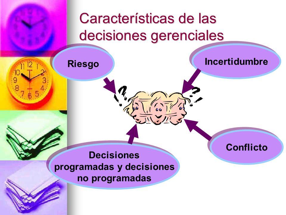 Características de las decisiones gerenciales Incertidumbre Riesgo Decisiones programadas y decisiones no programadas Decisiones programadas y decisio
