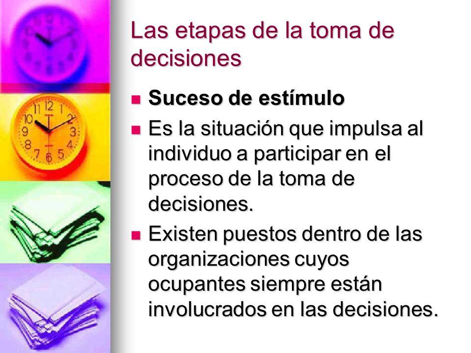 Las etapas de la toma de decisiones Suceso de estímulo Suceso de estímulo Es la situación que impulsa al individuo a participar en el proceso de la to