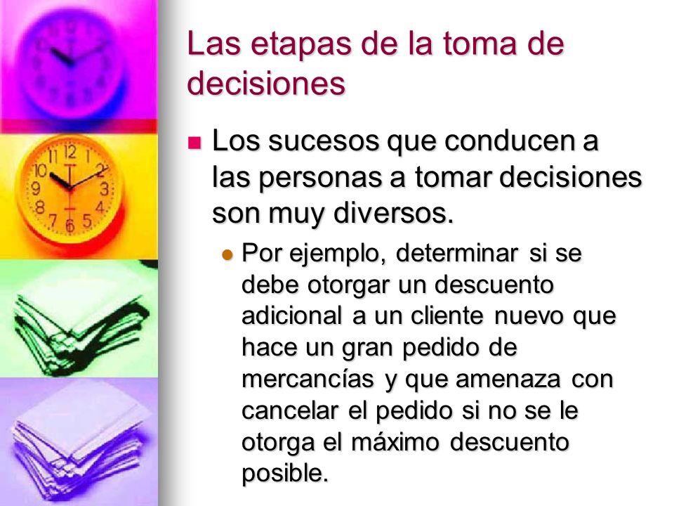Las etapas de la toma de decisiones Los sucesos que conducen a las personas a tomar decisiones son muy diversos. Los sucesos que conducen a las person