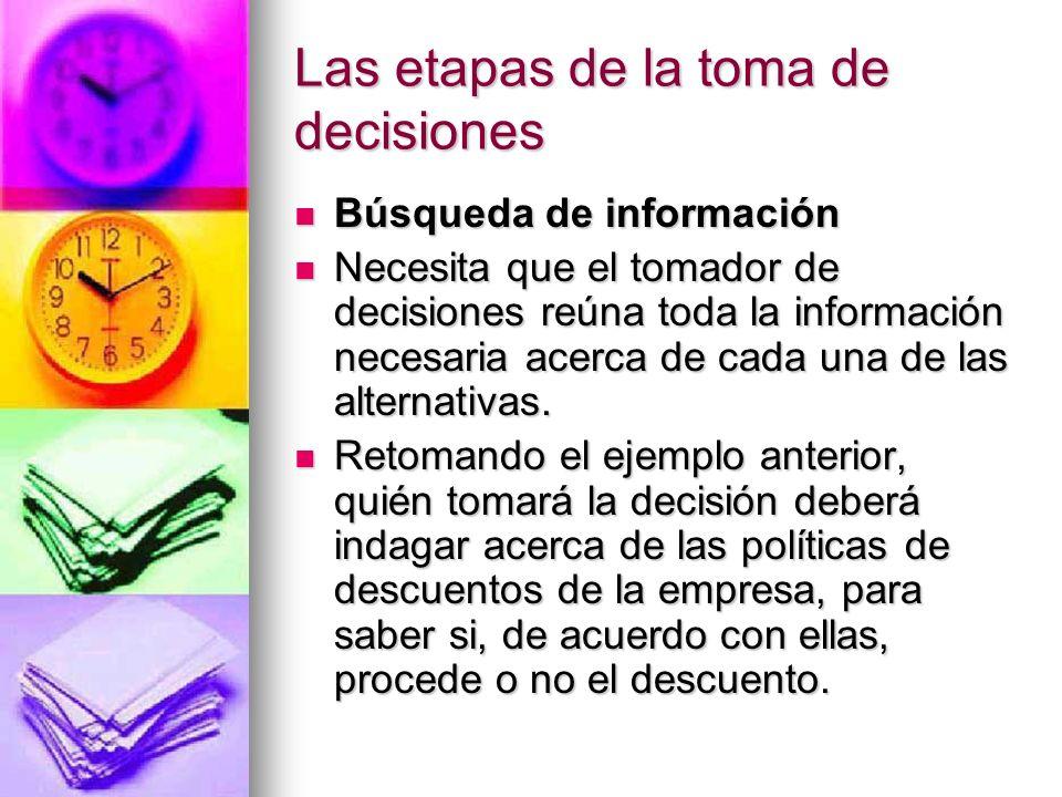 Las etapas de la toma de decisiones Búsqueda de información Búsqueda de información Necesita que el tomador de decisiones reúna toda la información ne