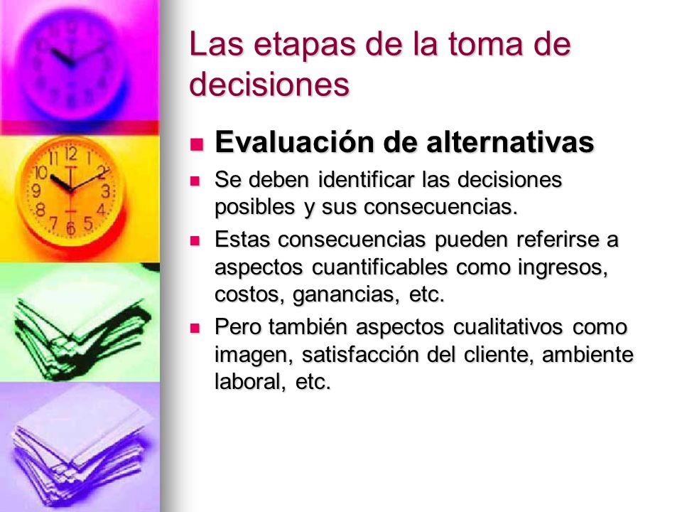 Las etapas de la toma de decisiones Evaluación de alternativas Evaluación de alternativas Se deben identificar las decisiones posibles y sus consecuen