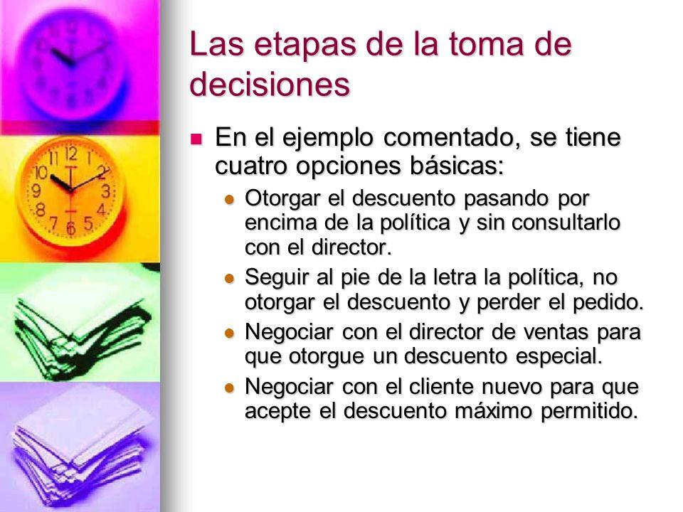 Las etapas de la toma de decisiones En el ejemplo comentado, se tiene cuatro opciones básicas: En el ejemplo comentado, se tiene cuatro opciones básic
