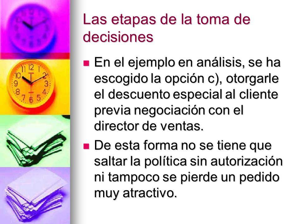 Las etapas de la toma de decisiones En el ejemplo en análisis, se ha escogido la opción c), otorgarle el descuento especial al cliente previa negociac