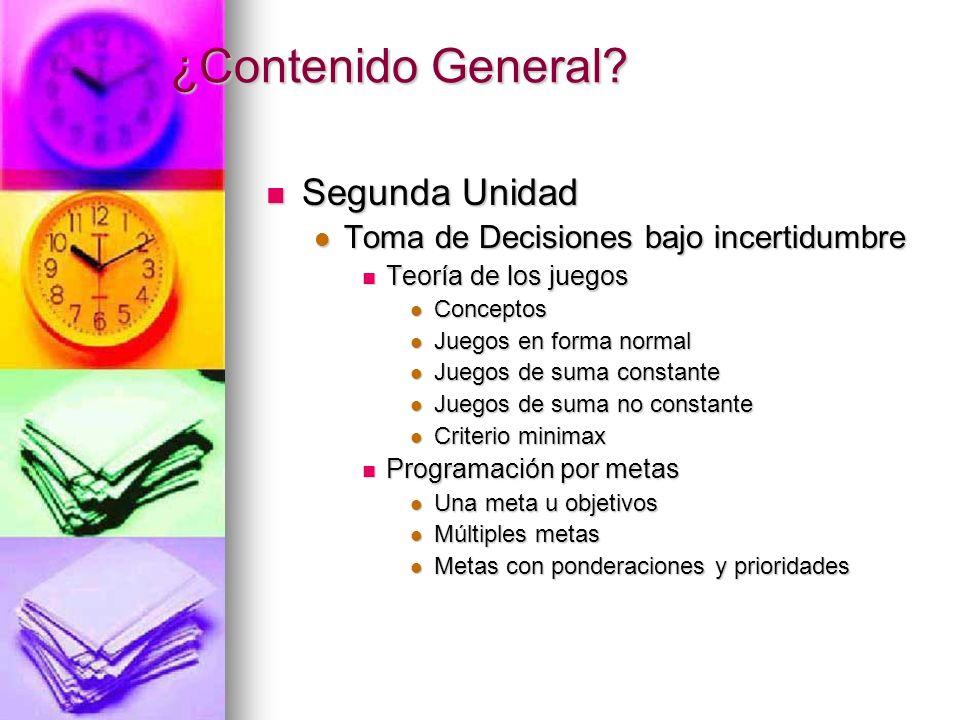 ¿Contenido General? Segunda Unidad Segunda Unidad Toma de Decisiones bajo incertidumbre Toma de Decisiones bajo incertidumbre Teoría de los juegos Teo