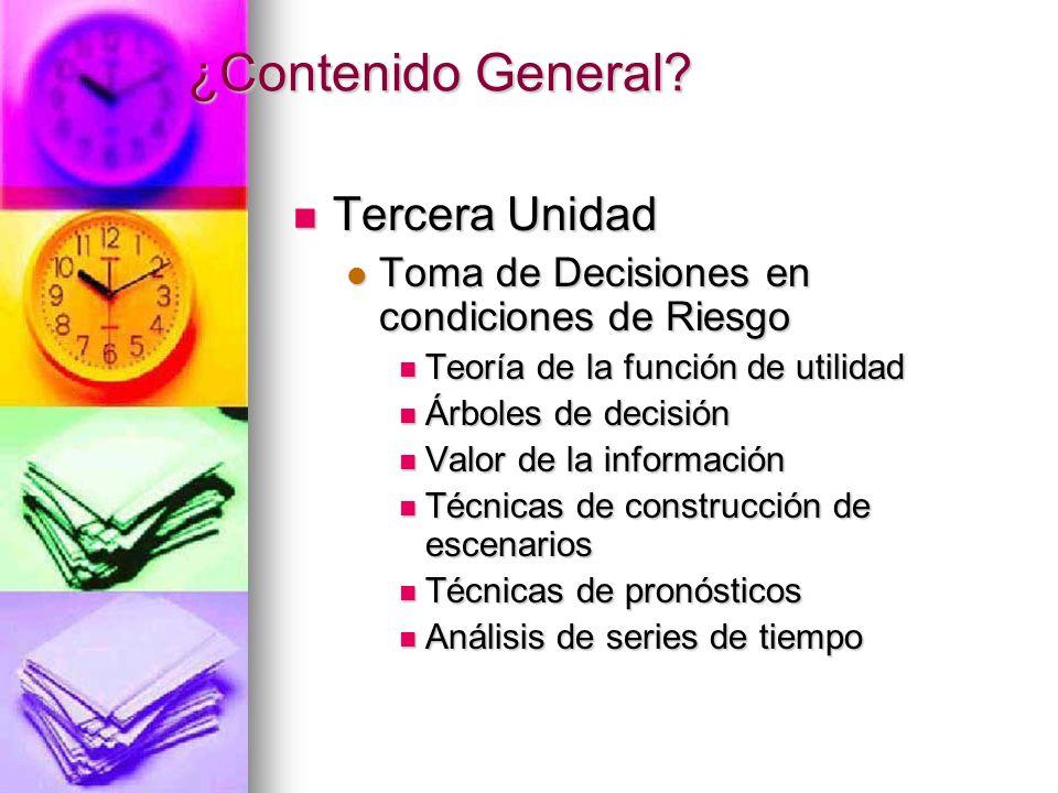 ¿Contenido General? Tercera Unidad Tercera Unidad Toma de Decisiones en condiciones de Riesgo Toma de Decisiones en condiciones de Riesgo Teoría de la