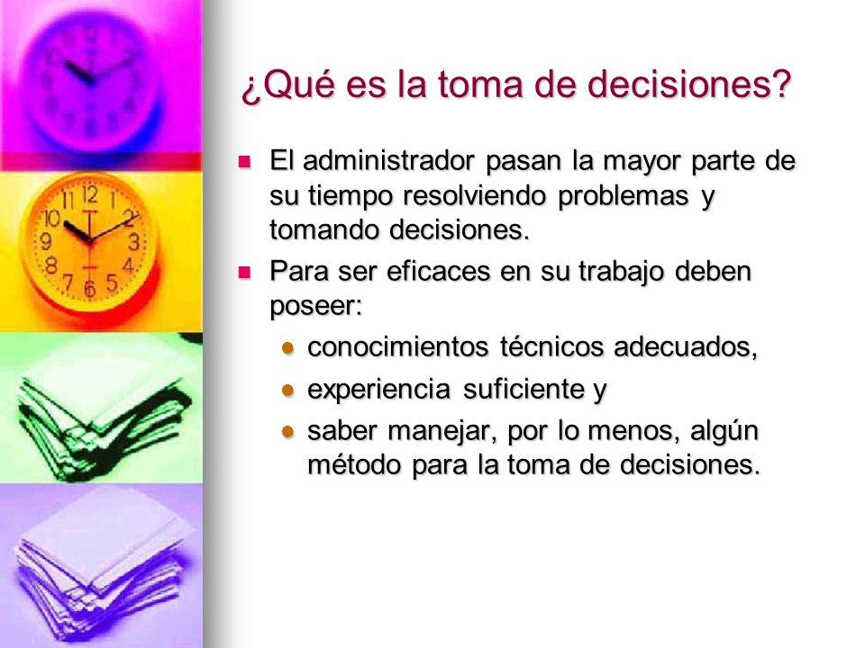¿Qué es la toma de decisiones? El administrador pasan la mayor parte de su tiempo resolviendo problemas y tomando decisiones. El administrador pasan l
