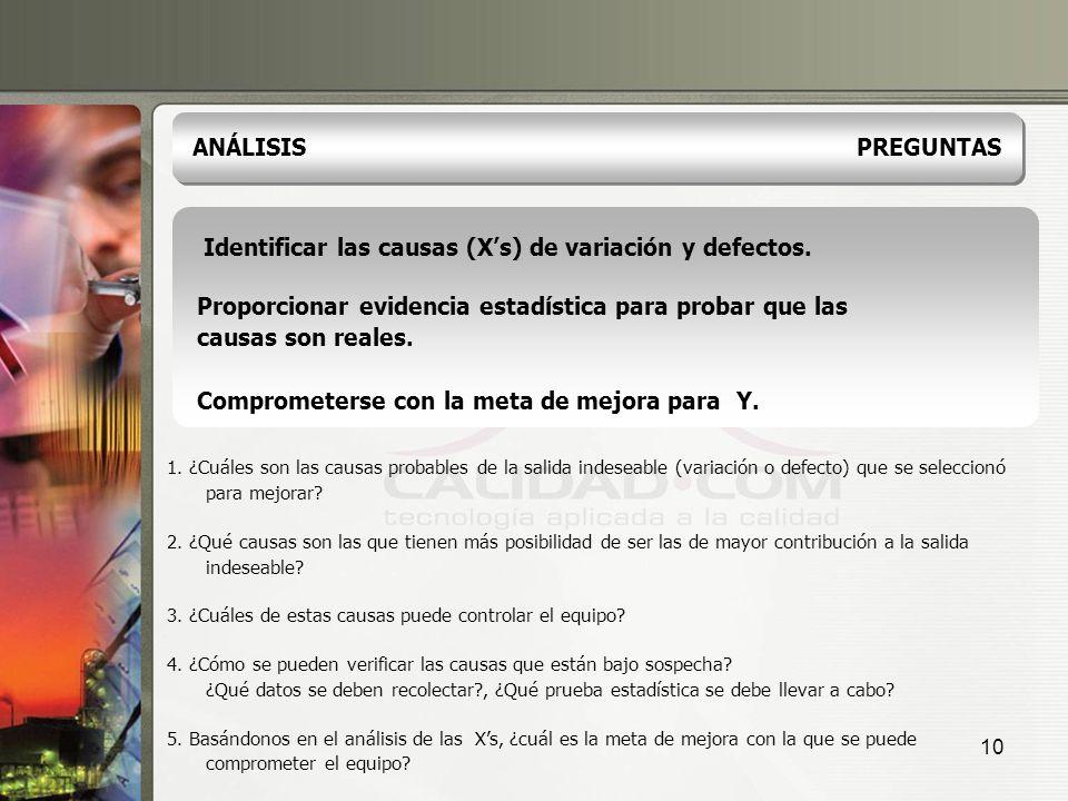 10 Identificar las causas (Xs) de variación y defectos. Proporcionar evidencia estadística para probar que las causas son reales. Comprometerse con la