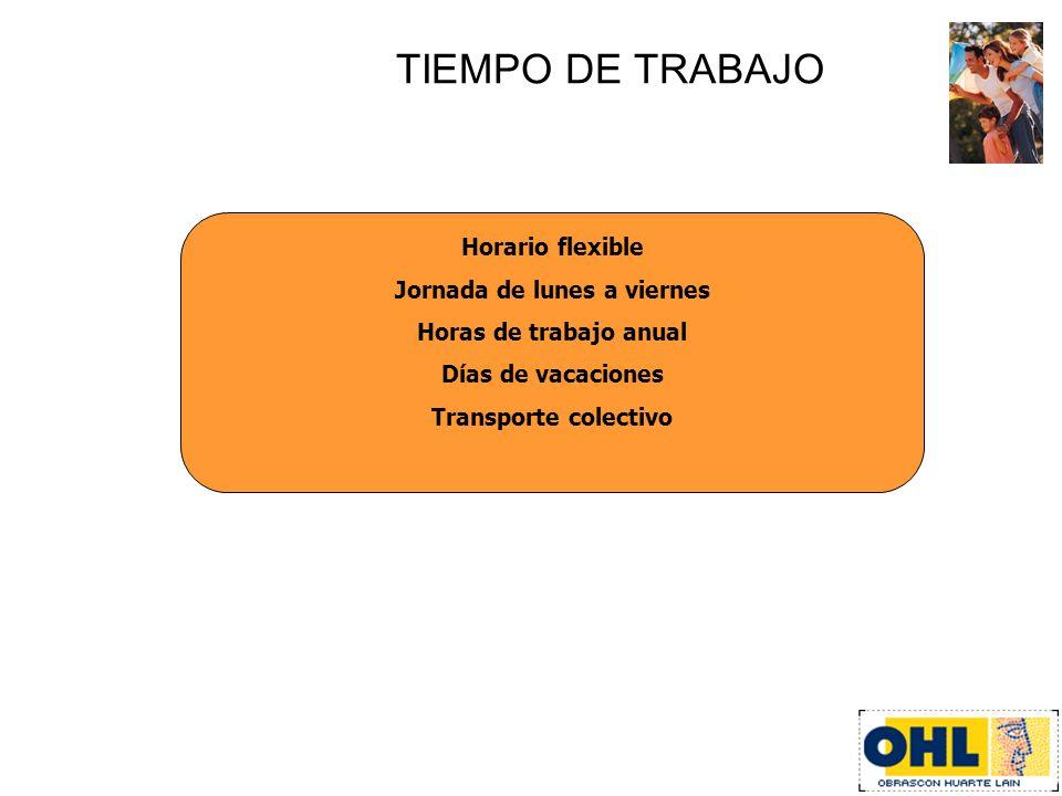 TIEMPO DE TRABAJO Horario flexible Jornada de lunes a viernes Horas de trabajo anual Días de vacaciones Transporte colectivo