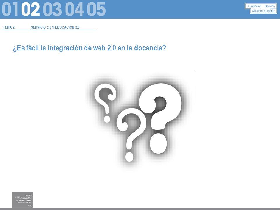 ¿Es fácil la integración de web 2.0 en la docencia? TEMA 2SERVICIO 2.0 Y EDUCACIÓN 2.0