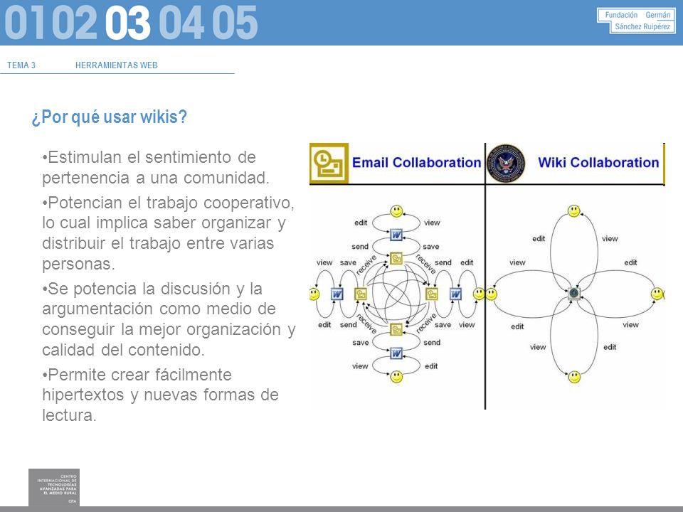TEMA 3HERRAMIENTAS WEB ¿Por qué usar wikis.