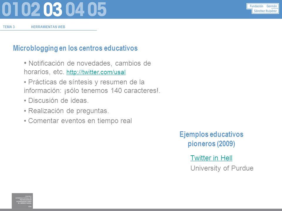 TEMA 3HERRAMIENTAS WEB Microblogging en los centros educativos Notificación de novedades, cambios de horarios, etc.