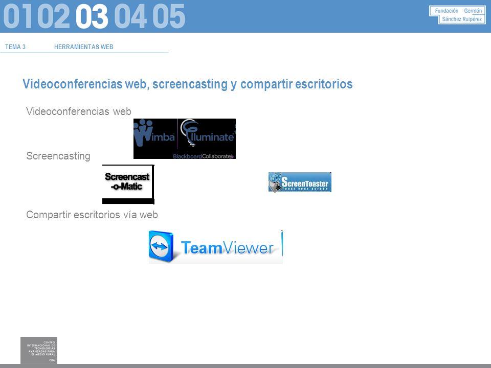 TEMA 3HERRAMIENTAS WEB Videoconferencias web, screencasting y compartir escritorios Videoconferencias web Screencasting Compartir escritorios vía web