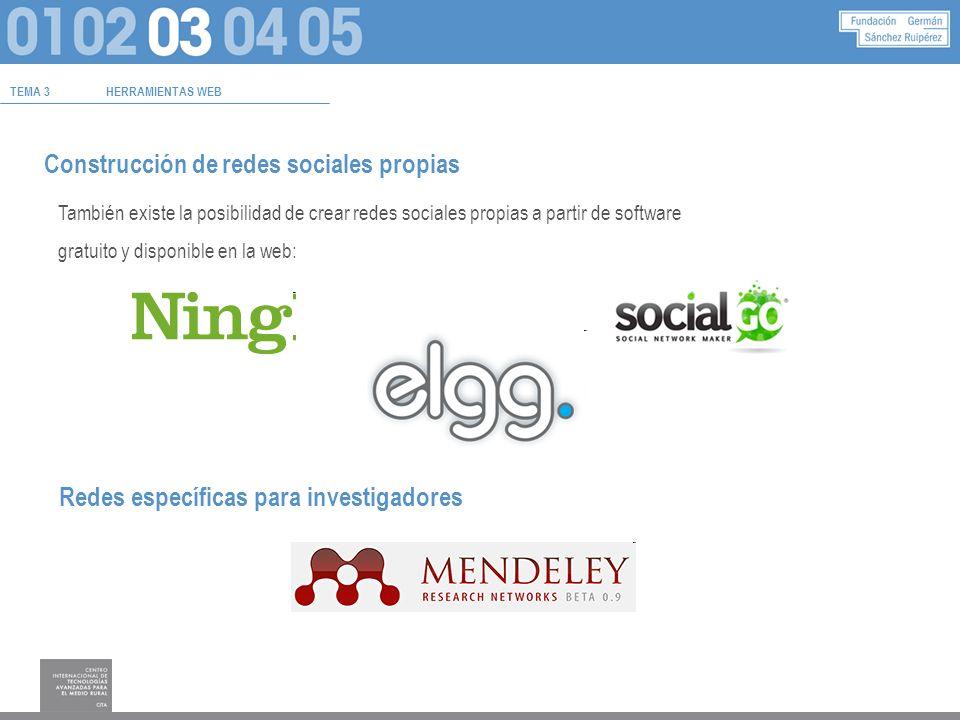 TEMA 3HERRAMIENTAS WEB Construcción de redes sociales propias También existe la posibilidad de crear redes sociales propias a partir de software gratuito y disponible en la web: Redes específicas para investigadores