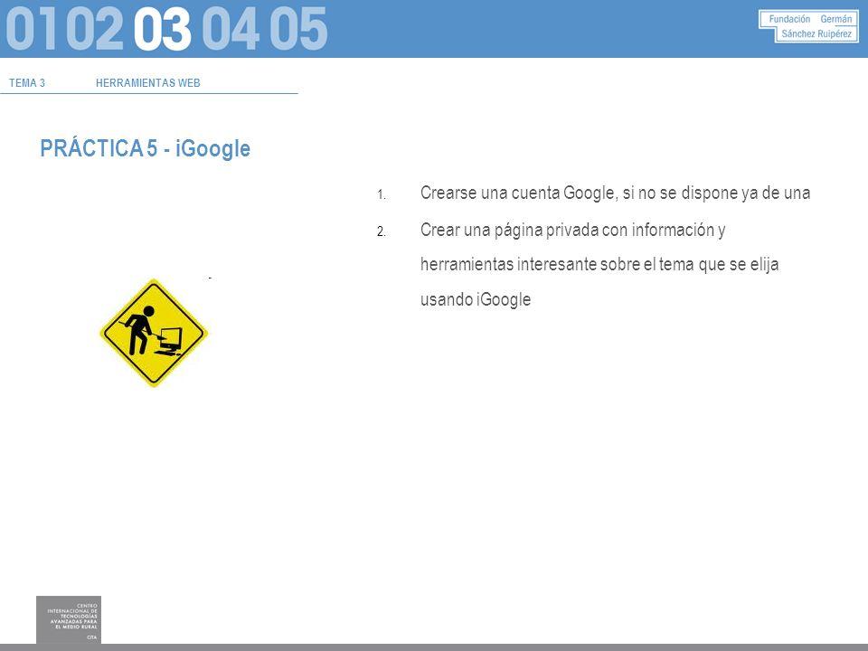 TEMA 3HERRAMIENTAS WEB PRÁCTICA 5 - iGoogle 1.