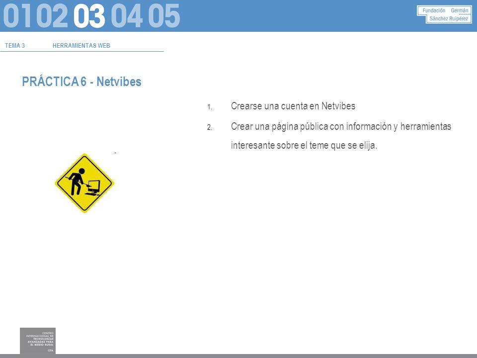 TEMA 3HERRAMIENTAS WEB PRÁCTICA 6 - Netvibes 1. Crearse una cuenta en Netvibes 2.