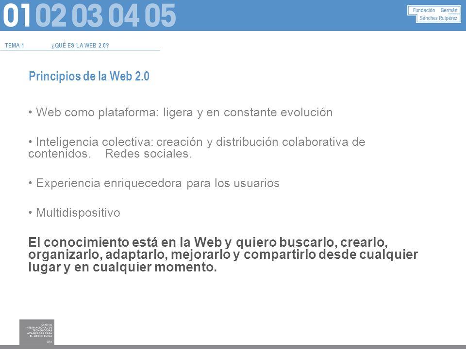 Principios de la Web 2.0 Web como plataforma: ligera y en constante evolución Inteligencia colectiva: creación y distribución colaborativa de contenidos.