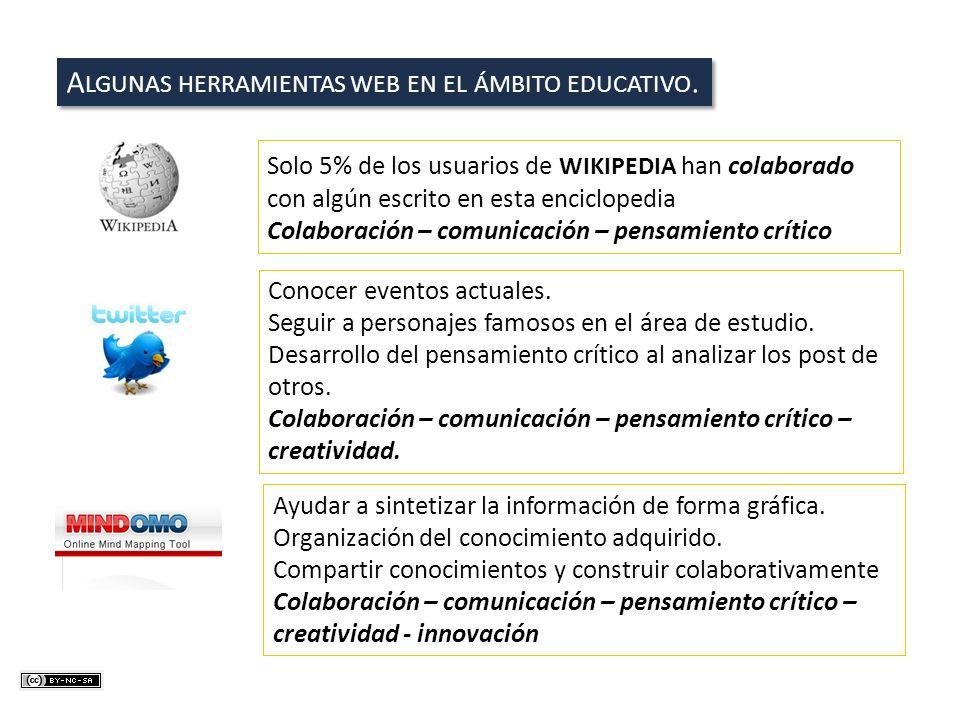 A LGUNAS HERRAMIENTAS WEB EN EL ÁMBITO EDUCATIVO. Solo 5% de los usuarios de WIKIPEDIA han colaborado con algún escrito en esta enciclopedia Colaborac