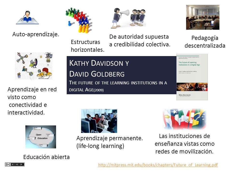 Auto-aprendizaje. Estructuras horizontales. De autoridad supuesta a credibilidad colectiva. Pedagogía descentralizada Aprendizaje en red visto como co