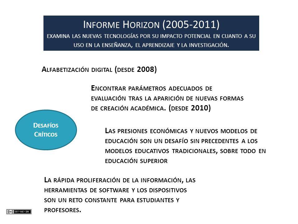 I NFORME H ORIZON (2005-2011) EXAMINA LAS NUEVAS TECNOLOGÍAS POR SU IMPACTO POTENCIAL EN CUANTO A SU USO EN LA ENSEÑANZA, EL APRENDIZAJE Y LA INVESTIG