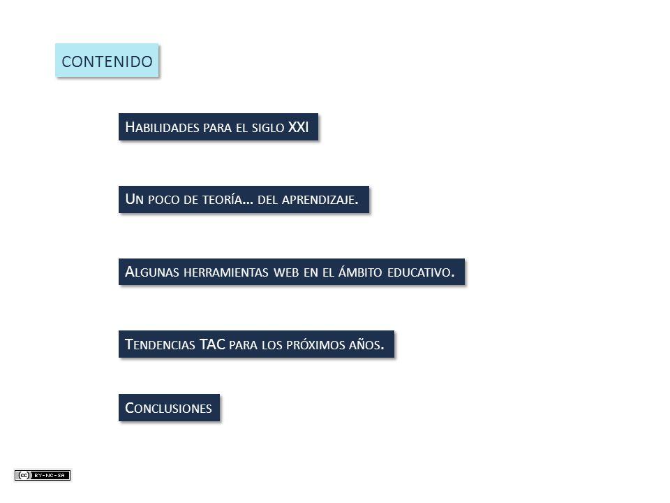 CONTENIDO H ABILIDADES PARA EL SIGLO XXI U N POCO DE TEORÍA … DEL APRENDIZAJE. A LGUNAS HERRAMIENTAS WEB EN EL ÁMBITO EDUCATIVO. T ENDENCIAS TAC PARA