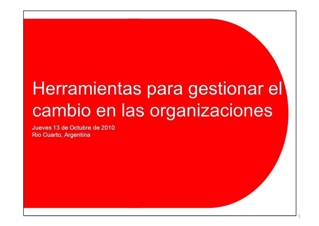 Herramientas para gestionar el cambio en las organizaciones Jueves 13 de Octubre de 2010 Rio Cuarto, Argentina 1