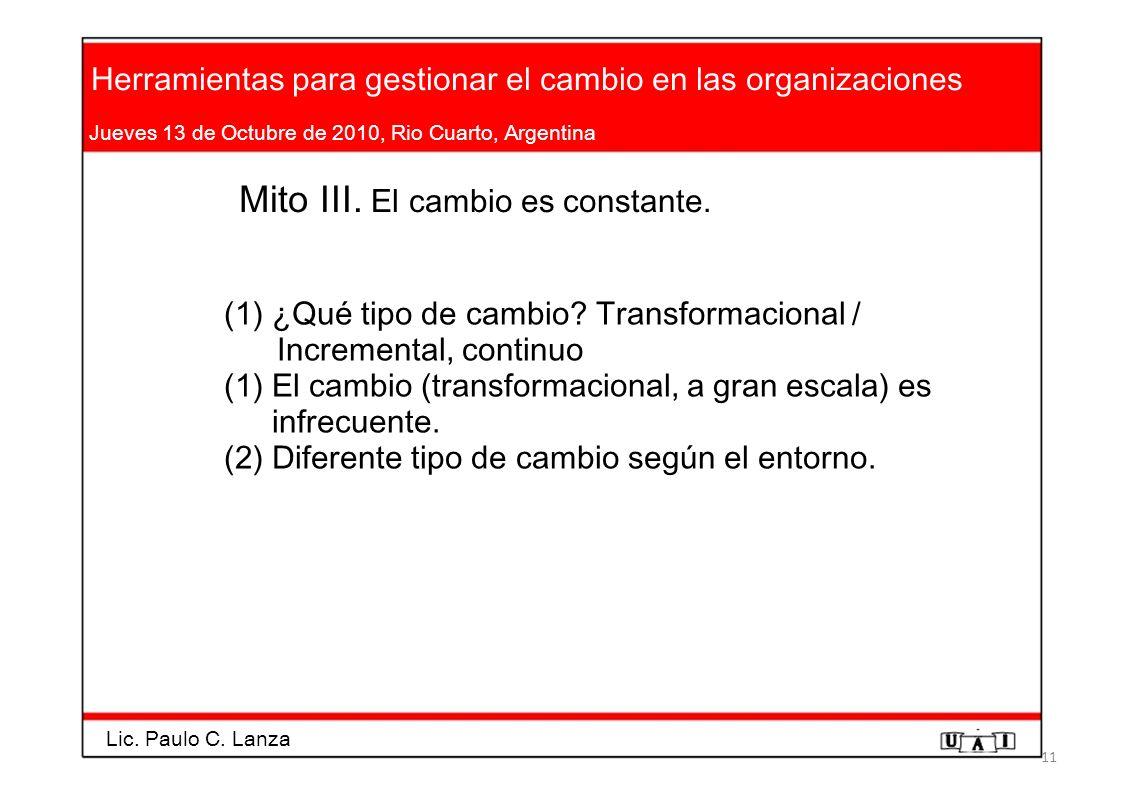 Herramientas para gestionar el cambio en las organizaciones Jueves 13 de Octubre de 2010, Rio Cuarto, Argentina Mito III. El cambio es constante. (1)¿