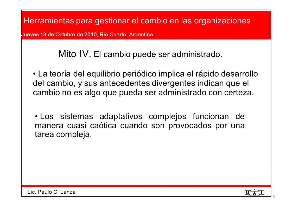 Herramientas para gestionar el cambio en las organizaciones Jueves 13 de Octubre de 2010, Rio Cuarto, Argentina Mito IV. El cambio puede ser administr