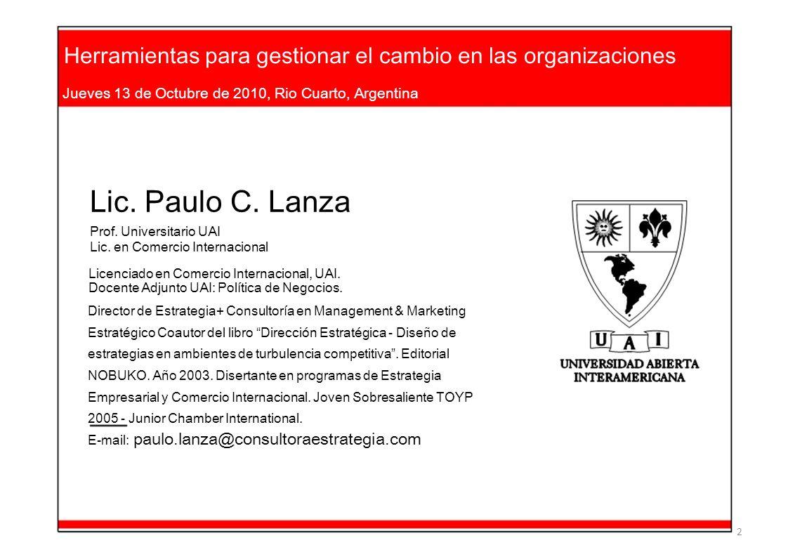 Herramientas para gestionar el cambio en las organizaciones Jueves 13 de Octubre de 2010, Rio Cuarto, Argentina Lic. Paulo C. Lanza Prof. Universitari